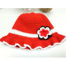 Handmade Crochet Baby Hat (Red White)